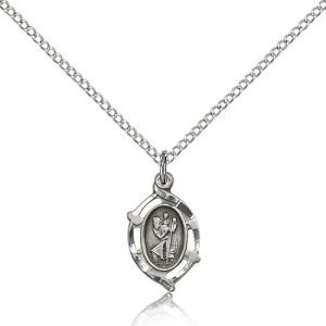 St Christopher Pendant - Sterling Silver - Long, (#84435)