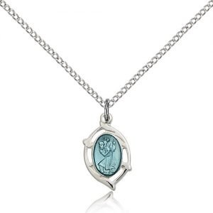 St Christopher Pendant Sterling Silver Long 84439