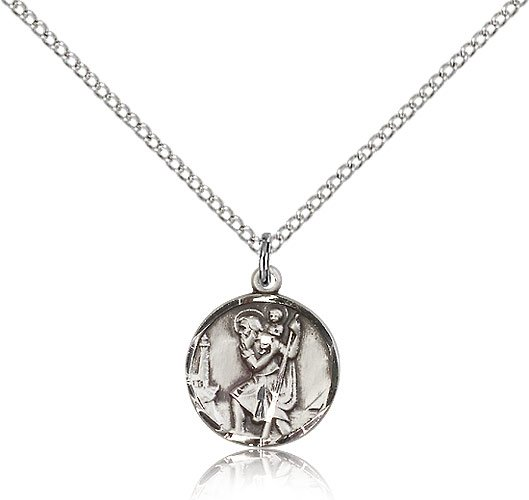 St Christopher Pendant - Sterling Silver - Small (#19342)