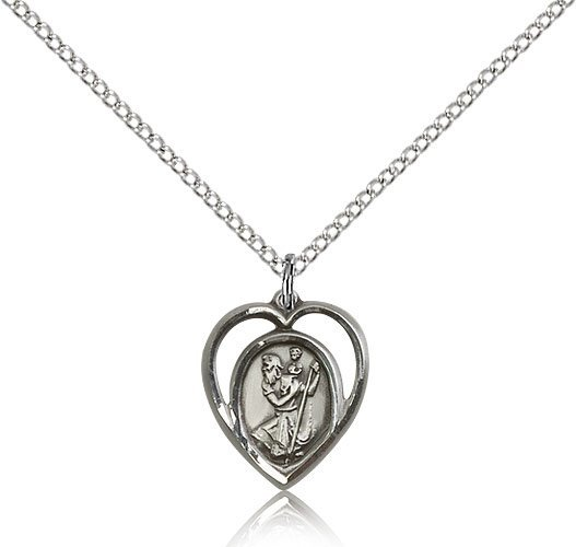 St Christopher Pendant - Sterling Silver - Small, (#83210)