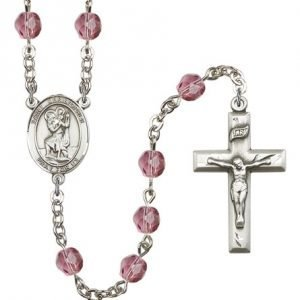 St Christopher Rosary Amethyst Beads R00683