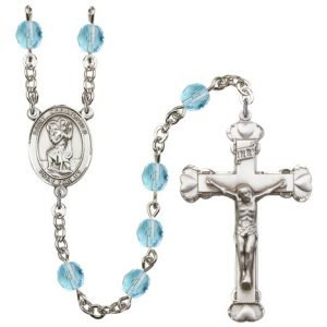 St Christopher Rosary Aqua Beads R00696
