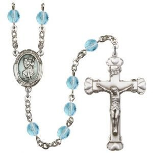 St Christopher Rosary Aqua Beads R15421