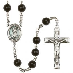 St Christopher Rosary - Black Onyx Beads (#R15437)