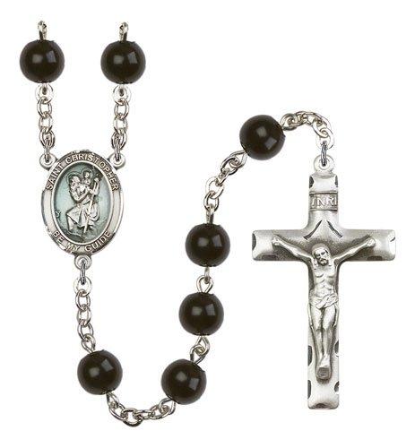 St Christopher Rosary - Black Onyx Beads (#R15437)