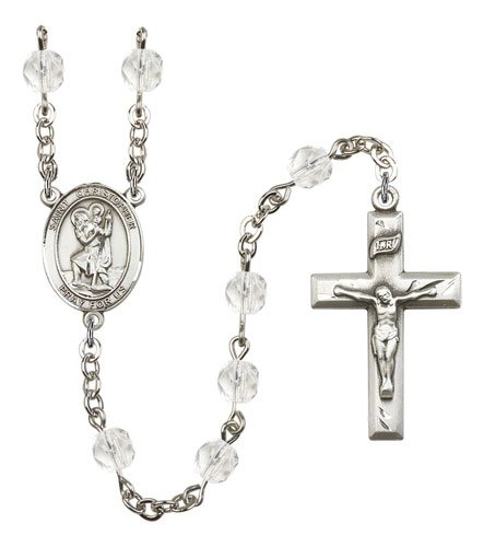 St Christopher Rosary - Crystal Beads (#R00685)