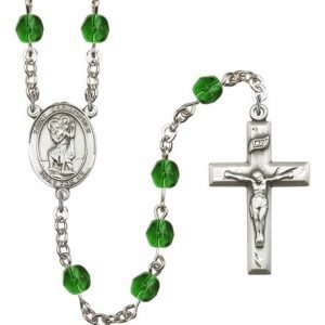 St Christopher Rosary Emerald Beads R00686