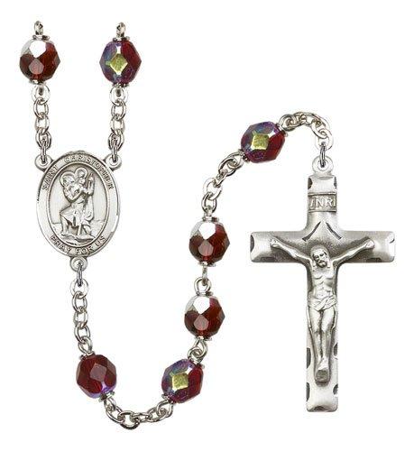 St Christopher Rosary Garnet Aurora Borealis Beads R00713