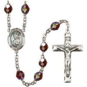 St Christopher Rosary Garnet Aurora Borealis Beads R15438