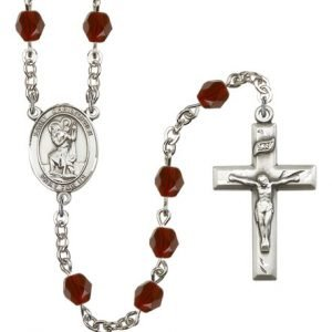 St Christopher Rosary - Garnet Beads (#R00687)
