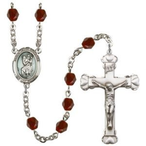 St Christopher Rosary Garnet Beads R15424