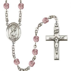 St Christopher Rosary Light Amethyst Beads R00688