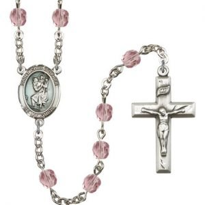 St Christopher Rosary Light Amethyst Beads R15413