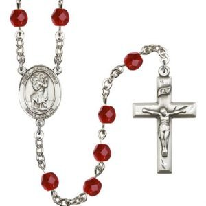 St Christopher Rosary - Ruby Beads (#R00691)