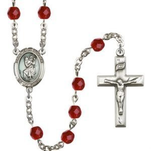 St Christopher Rosary - Ruby Beads (#R15416)