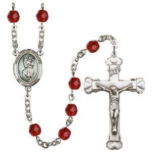 St Christopher Rosary Ruby Beads R15428