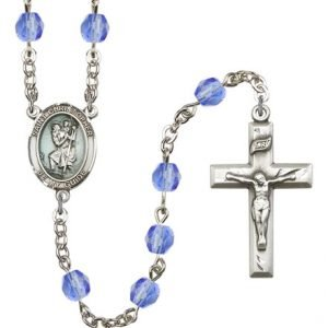 St Christopher Rosary - Saphire Beads (#R15417)