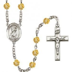St Christopher Rosary - Topaz Beads (#R00693)