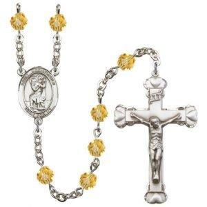 St Christopher Rosary - Topaz Beads (#R00705)