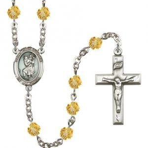 St Christopher Rosary Topaz Beads R15418