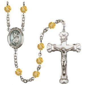 St Christopher Rosary Topaz Beads R15430