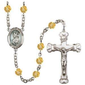 St Christopher Rosary Topaz Beads R15430
