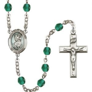 Zircon Bead St Christopher Rosaries