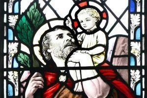 Detail of Stained Glass Window with St Christopher with the Child Jesus on His Shoulder